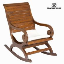 Sedia a dondolo coloniale noce cuscino by Craften Wood