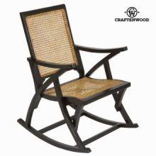 Sedia a dondolo di rattan nera by Craften Wood