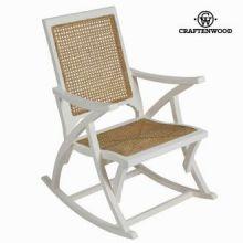 Sedia a dondolo di rattan bianca by Craften Wood