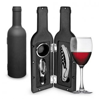 Accessori Vino in Astuccio a forma di bottiglia (3 Pezzi)
