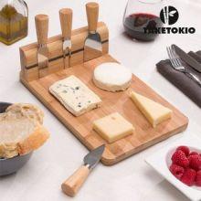 Tagliere di Bamboo per formaggi con Accessori (5 pezzi)