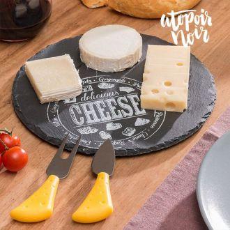 Tagliere in Ardesia per Formaggio Rettangolare con Forchetta e Coltello Inox