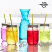 Bottiglia con 4 Barattoli in Vetro Vintage Colors Bravissima Kitchen