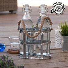 Bottiglie di Vetro con Portabottiglie Vintage Coconut