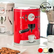 Scatola in Metallo Vintage Coffee Machine