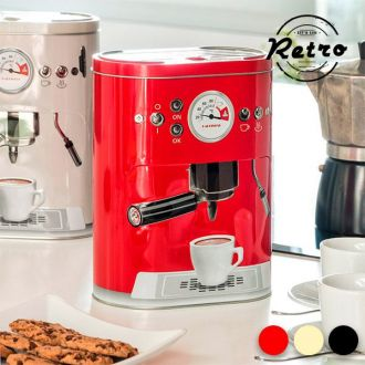 Scatola in Metallo Vintage Coffee Machine