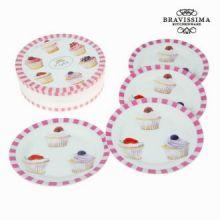 Set 4 piatti cupcakes - Kitchen's Deco Collezione by Bravissima Kitchen
