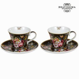 Set 2 tazze c/piatto bloom blac - Kitchen's Deco Collezione by Bravissima Kitchen