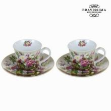 Set 2 tazze con piatto bouquet - Kitchen's Deco Collezione by Bravissima Kitchen