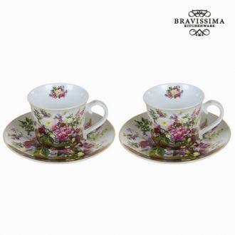 Set 2 tazze con piatto bouquet - Kitchen's Deco Collezione by Bravissima Kitchen