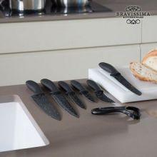 Coltelli Professionali in Pietra Premium Black Bravissima Kitchen (7 pezzi)