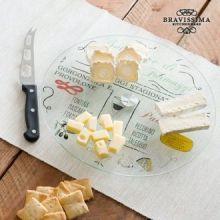 Vassoio Girevole in Vetro con Coltello per Formaggi Bravissima Kitchen